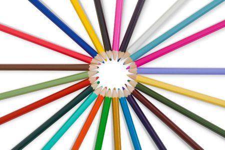 Great set of color pencils isolated on a white background photo