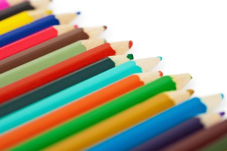 A set of colored pencils isolated on a white background photo