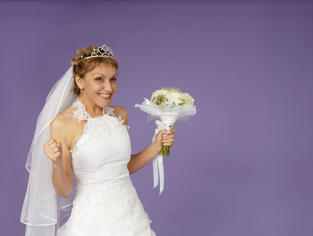 marriageable: A very happy bride on a purple background