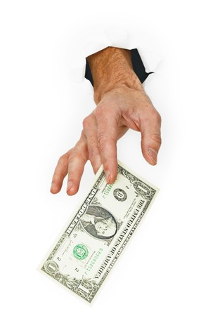 Hand giver money isolated on a white background photo