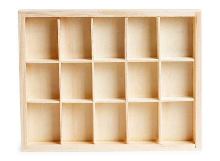 Small wooden box with cells isolated on a white background Stock Photo - 8030697