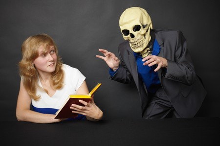 A young woman experiences hallucinations - funny skeleton Stock Photo - 8029726