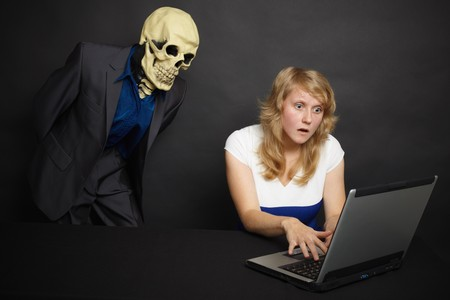 A young woman experiences the horror of what he saw on the Internet Stock Photo - 8029736