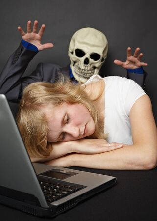 The nightmare visited slumbering tired young woman Stock Photo - 8029745