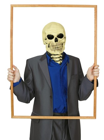 The masked man skeleton, placed himself in the frame Stock Photo - 8029738