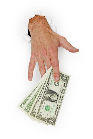 Hand giving stack of dollars isolated on a white background photo