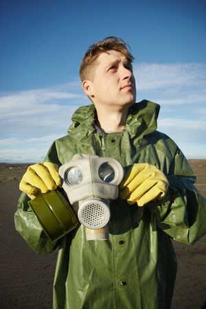 Young scientist breathe air without mask in desert Stock Photo - 8205094