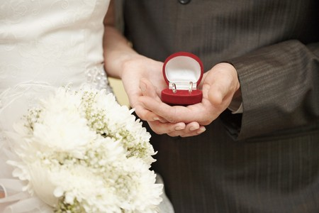 Wedding rings in the hands of the bride and groom close up Stock Photo - 8205081