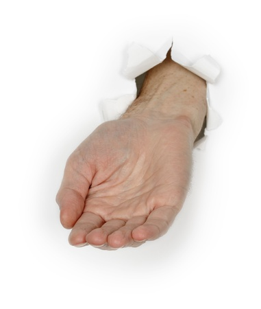 Hand begging isolated on a white background photo