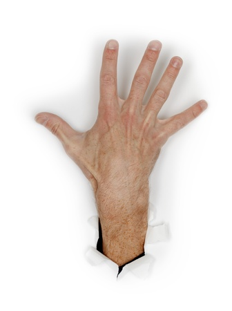 Hand with fingers spread isolated on a white background photo