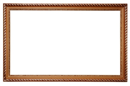 Wooden frame for paintings isolated on white background photo