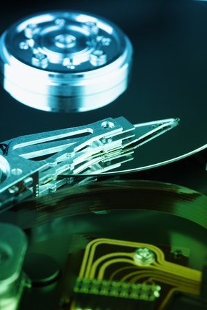 microscopical: Details of the electronic mechanical device - a hard disk