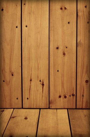 unpretentious: Unpretentious old stained wooden walls and floor