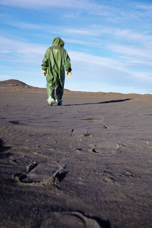 ecologist: The scientific ecologist in overalls leaves afar