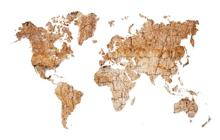 geographical: Map of the world with continents from dry deserted soil Stock Photo