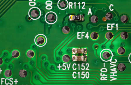 microscopical: Electronic background - a green computer circuit board close up
