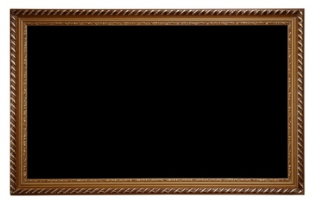 A large wooden frame - dark wood on white background photo