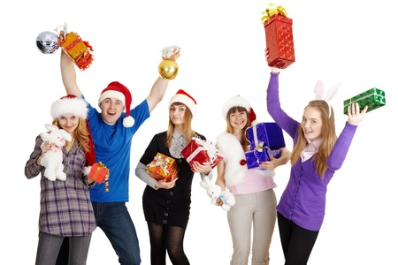 The happy company with New Years gifts in hands isolated on a white background photo