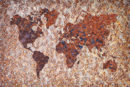 The world map formed by corrosion stains on metal Stock Photo - 8423724
