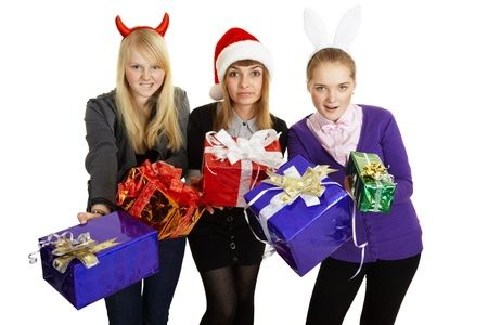 Funny girl give us gifts isolated on white background Stock Photo - 8432882
