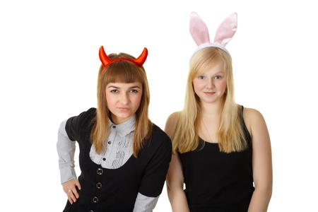 Two friends in festive costume devil and bunny isolated on white photo