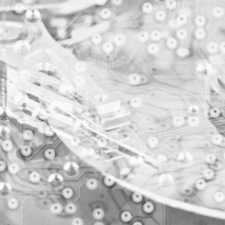 microscopical: Abstract monochrome electronic industrial square background Stock Photo