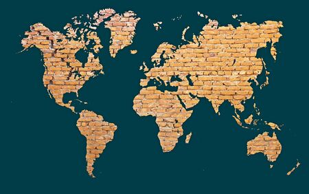 mare agitato: Mappa del mondo con continenti fatta di mattoni rossi - abstract background Archivio Fotografico