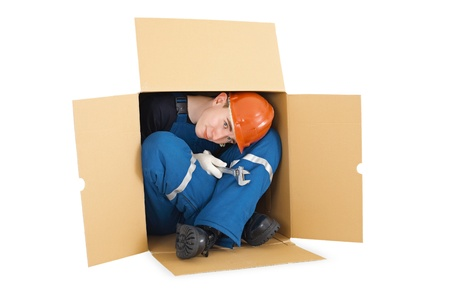 arrived: The hired worker arrived from other country in cardboard box