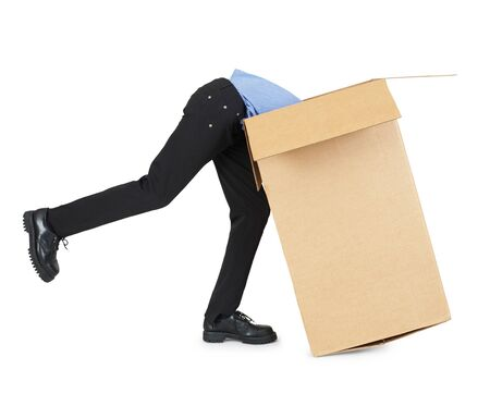 ransack: Man looking for his things in a big cardboard box