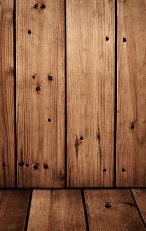 Vintage wood brown panels - the wall and the floor photo