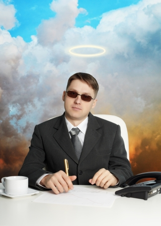 religious clothing: A government official in the service - almost a god Stock Photo