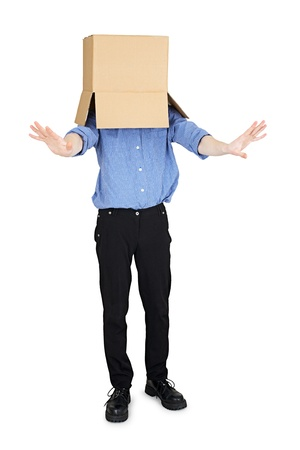 blinded: Man blinded by the box to put on his head