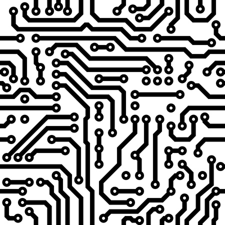 electronic circuit: Monochrome seamless vector texture - electronic circuit board Illustration