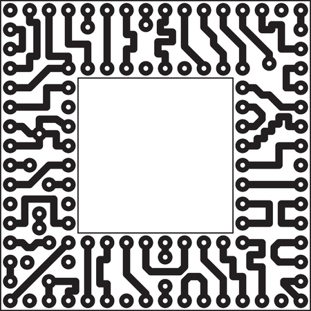 Monochrome vector electronic board - square slot Vector