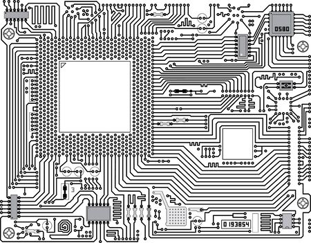 motherboard: Monochrome vector electronic circuit board - industrial background Illustration