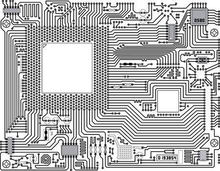 Placa de circuito electrónico vector monocromo - fondo industrial