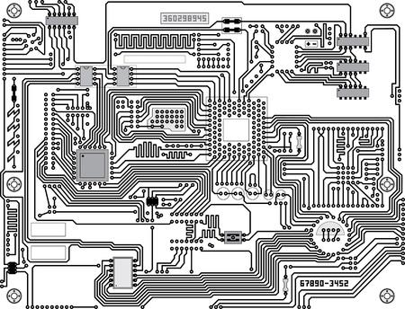 Vecteur de circuits - fond noir et blanc de haute technologie industrielle Vecteurs