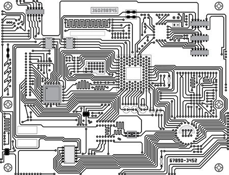 electronic board: Vector circuitry - industrial high-tech black and white background