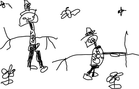 Kinderzeichnung of a zwei funny People on white
