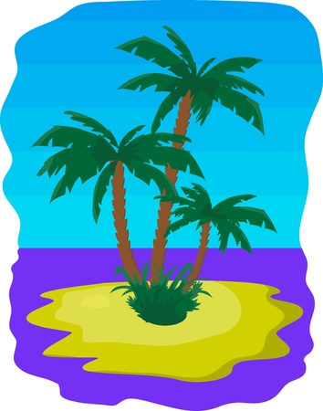Tropic island with palms among the sea Stock Vector - 8710487