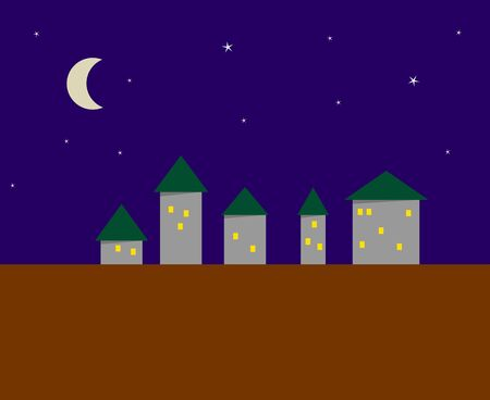 The stylized image of a night small city - five houses Vector