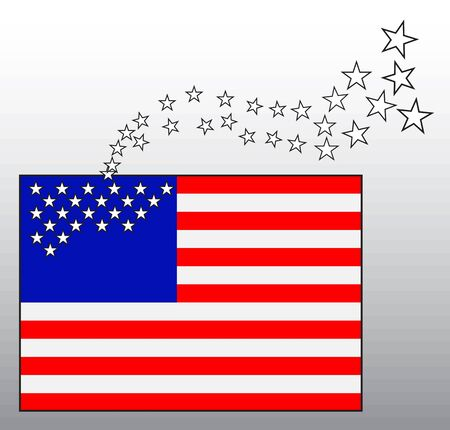 dissociation: The conceptual image of the American flag with departing stars Illustration