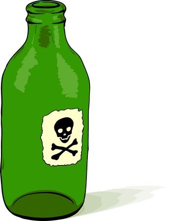 acido: Botella de vidrio con un símbolo de veneno