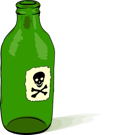 green bottle: Glass bottle with a poison symbol