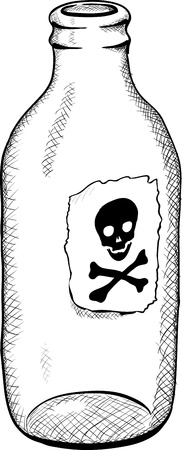 Bottle with a symbol of death