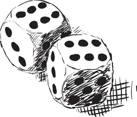 two object: Rough monochrome sketch - two dices on white