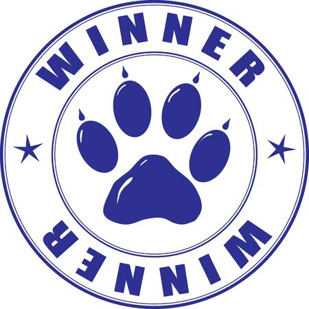 Round stamp with the paw and inscription - winner Vector