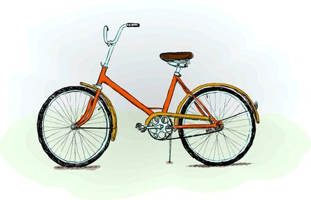 Old-fashioned red bicycle Vector