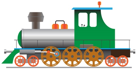 black and white railroad tracks: Stylized steam locomotive - vector illustration eps8