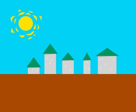Stylized small town - simple vector illustration eps8 Vector